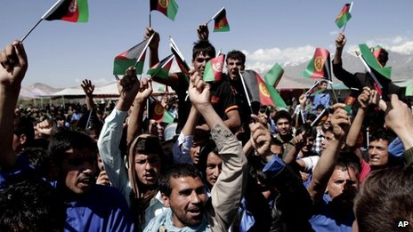 Afghans chant slogans against Pakistan during a demonstration in Kochkin area on the outskirts of Kabul, Afghanistan