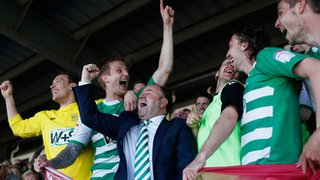 Yeovil boss Gary Johnson celebrates with his players