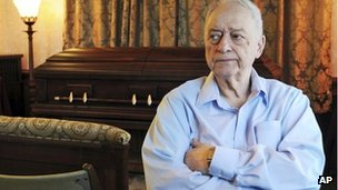 Peter Stefan sits in his funeral home in Worcester, Massachusetts, 3 May