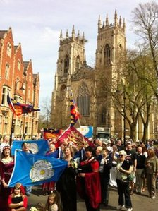 Marchers outside York Minster