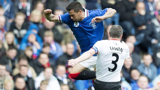 Nacho Novo is tackled by Manchester United's Denis Irwin