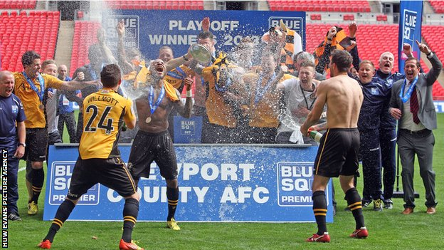 Newport County celebrate promotion at Wembley
