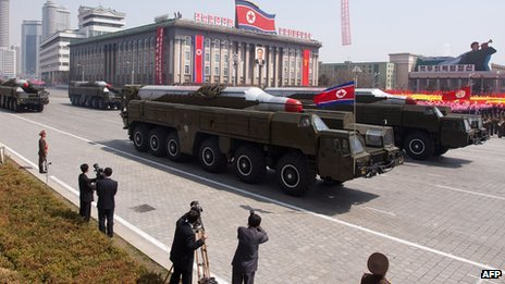 Musudan missiles are being displayed during a military parade in Pyongyang (15 April 2012)