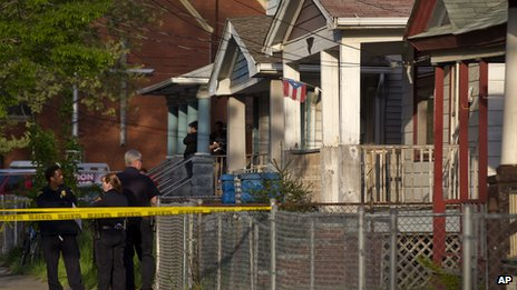 Police seal off house in Seymour Avenue, Cleveland, Ohio, on 6 May 2013