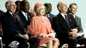 Queen Elizabeth during the opening ceremony of the 2002 Chogm in Queensland, Australia.