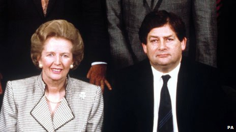 Margaret Thatcher and Nigel Lawson in 1989