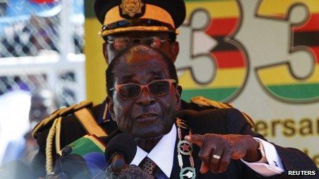 Zimbabwe's President Robert Mugabe at a rally on 18 April 2013