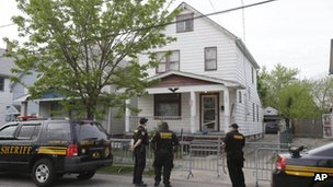 Police outside a house in Cleveland, 7 May 2013