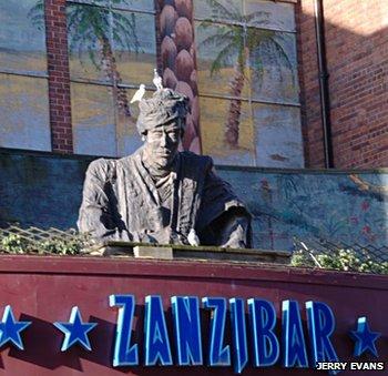 Statue above the former Zanzibar nightclub in Derby
