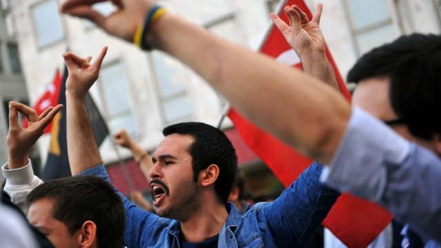 Turkish nationalists chant slogans