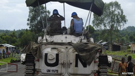 UN peacekeepers guard a road in eastern DR Congo in May 2013