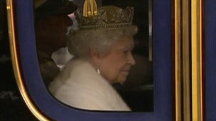 The Queen arriving in her carriage at the Sovereign's Entrance