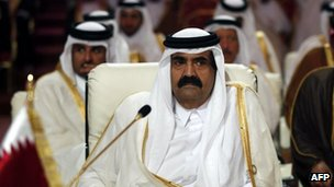 Qatar's Emir Hamad bin Khalifa al-Thani attends the opening of the Arab League summit in the Qatari capital Doha in March 2013