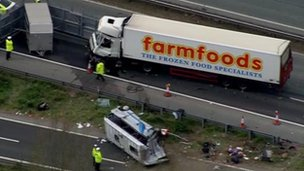 Lorry and minibus at scene