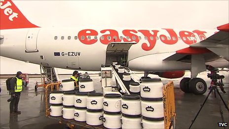 Ash loaded onto an Easyjet airbus
