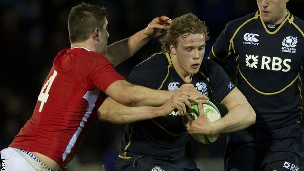 Jonny Gray in action for Scotland Under-20s