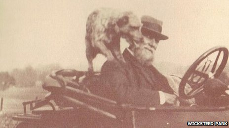 Charles Wicksteed in a car with his dog