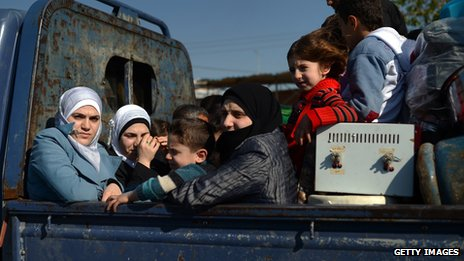 A car full of Syrian women and children fleeing the city of Aleppo