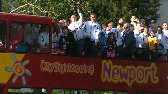 Newport County players on the bus