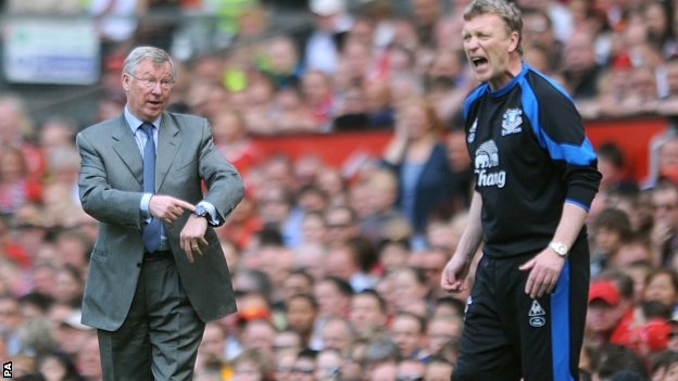 Sir Alex Ferguson (left) and Everton boss David Moyes