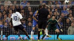 Emmanuel Adebayor scores for Spurs