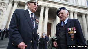 Veterans of the Battle of the Atlantic outside St Paul's Cathedral on 8 May 2013