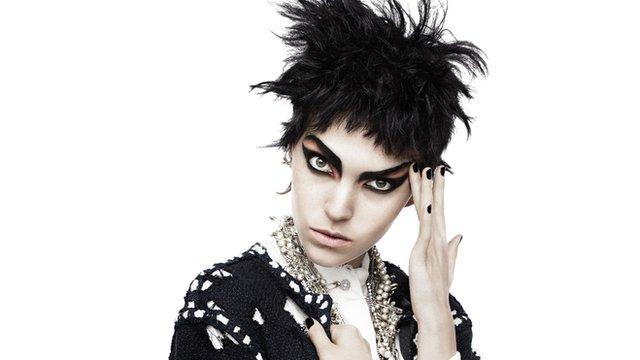 A model dressed in punk fashion