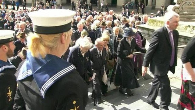 Veterans arrive at a commemorative event