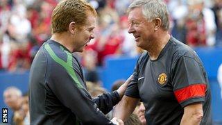 Celtic's Neil Lennon and Sir Alex Ferguson