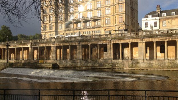 Colonnades next to Pulteney Weir in Bath
