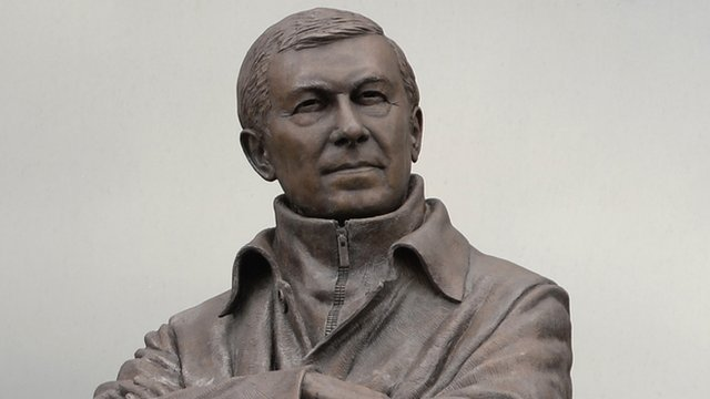 A statue of Manchester United's coach Alex Ferguson
