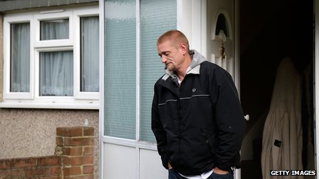 Stuart Hazell leaves his partner's house on 8 August 2012