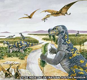 A dinosaur scene