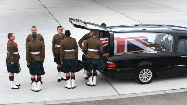 Coffins of the soldiers arrived at RAF Brize Norton