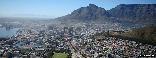 View over Cape Town, with Table Mountain in the background