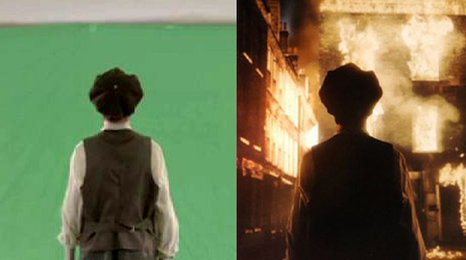 Before and after VFX shot