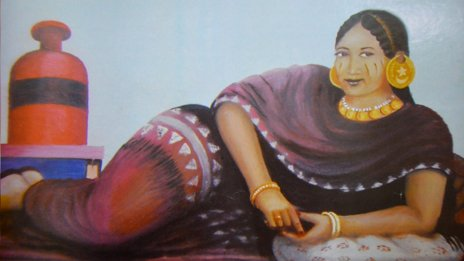 A painting by Abdulaziz Farah of a bride in the 1950s
