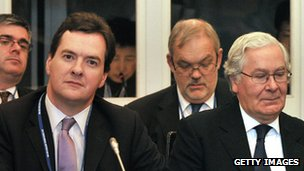 British finance minister George Osborne (front L) and Governor of the Bank of England, Mervyn King (front R), attend a meeting of the G7 group in Tokyo
