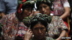 Ixil women listen to the proceedings. 9 May 2013