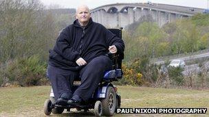 Paul Mason in his wheelchair