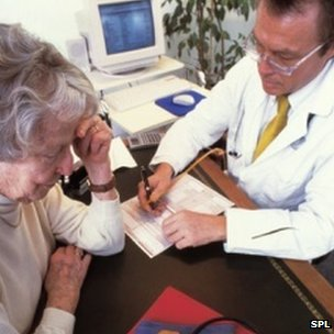 GP writing a prescription for a patient
