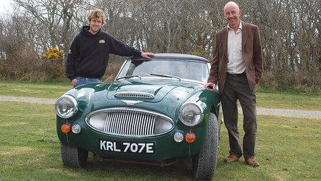 Great Grandson Sam Healey with his father David Healey and an Austin Healey 3000