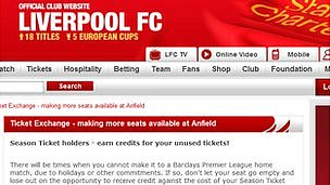 Liverpool FC ticket exchange website
