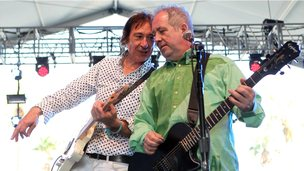 Buzzcocks&#039; Steve Diggle and Pete Shelley on stage at the 2012 Coachella Valley Music and Arts Festival 
