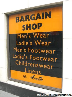 Bargain shop sign with random apostrophes