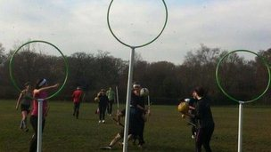 A game of Quidditch in progress