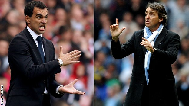 Roberto Martinez (l) and Roberto Mancini
