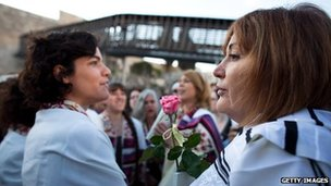 Members of Women of the Wall at the Western Wall in Jerusalem on 10 May 2013