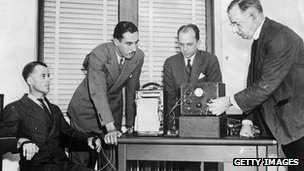 A New Jersey policeman undergoes a lie detector test in 1937