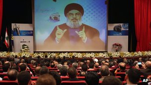 Hezbollah leader Hassan Nasrallah speaks via video during a conference in Beirut, Lebanon. Photo: 9 May 2013